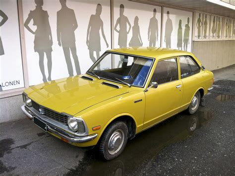 yellow toyota corolla mustard yellow museum 1973 toyota corolla hooniverse