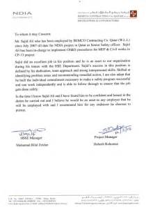 Safety Manager Cover Letter by Reference Letter From Safety Manager Project Manager