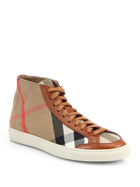 burberry sneakers burberry montfords check leather hightop sneakers in brown