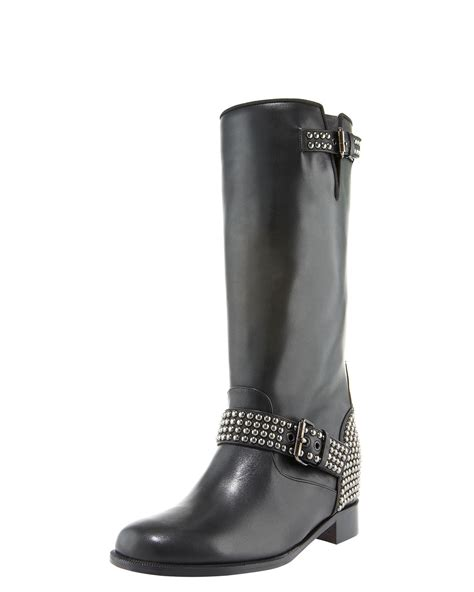 christian louboutin studded motorcycle boot in black