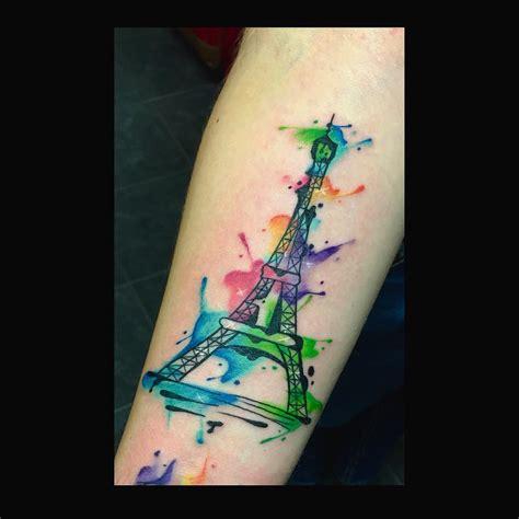 eiffel tower tattoo on hand watercolor eiffel tower tattoo