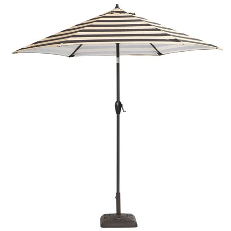 Hton Bay 9 Ft Aluminum Patio Umbrella In Black Cabana Striped Patio Umbrella 9 Ft