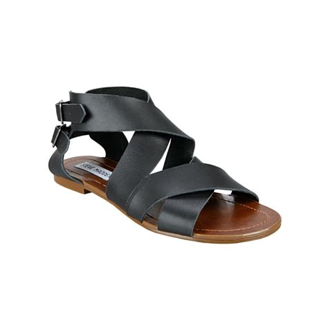 black sandals steve madden achilees flat sandals in black lyst