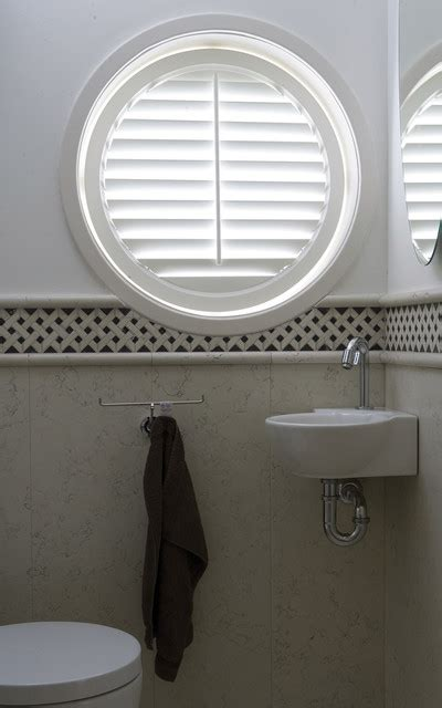 window decor powder room circle plantation shutters traditional powder room