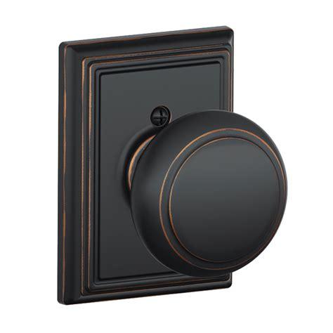 shop schlage andover aged bronze dummy door knob at lowes
