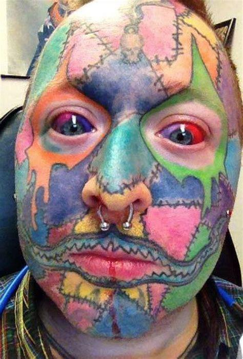 girl tattoo jokes tattoo overdose no skin left patchwork face art