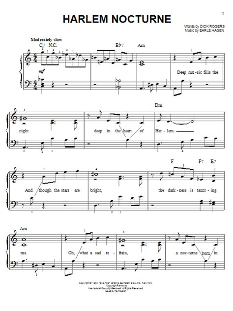 tutorial piano nocturne harlem nocturne sheet music by earle hagen easy piano