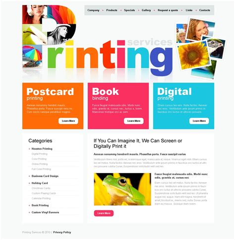 Print Shop Website Template 30762 Print Shop Website Template