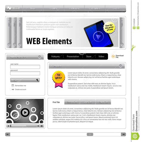homepage design elements website design elements royalty free stock photos image