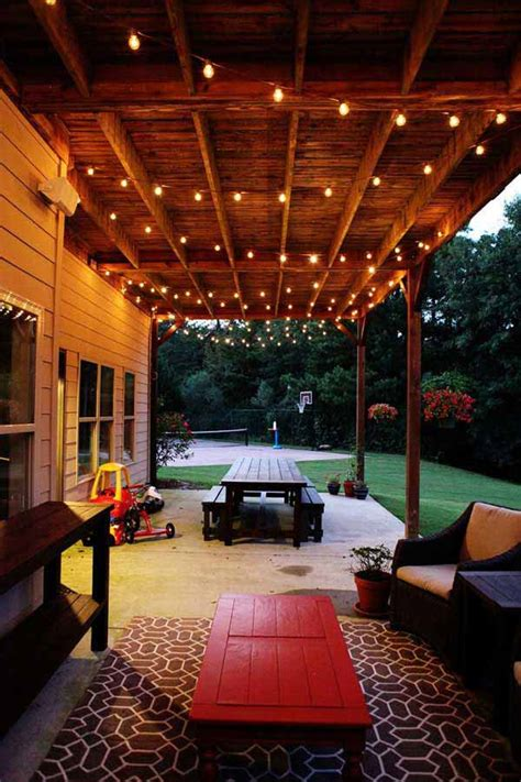 amazing yard  patio string lighting ideas