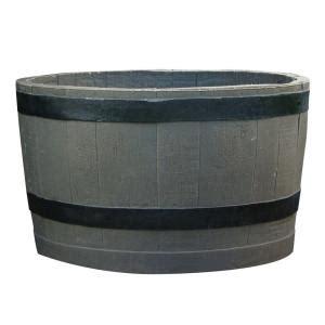 Rts Home Accents Barrel With Black Stripes Planter Home Depot Barrel Planter