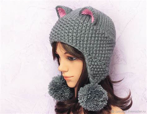 Cat Beanie hat cat ears cat with pom pom grey knitted s shop