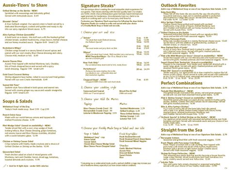 Outback Steak House Menu by Menu For Outback Steakhouse 6030 Sw 18th St Ste A2