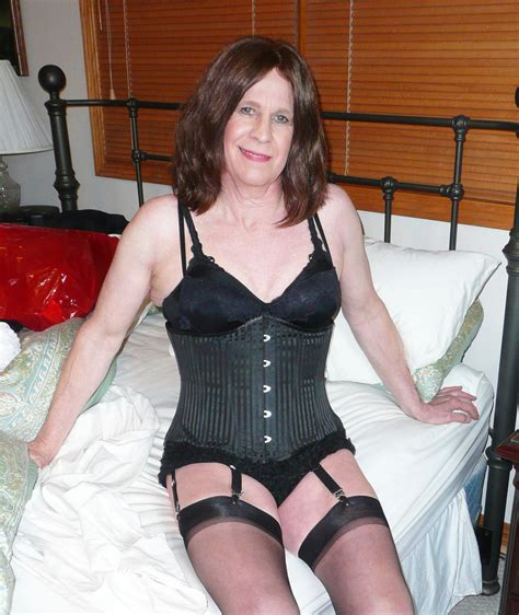 crossdressing nylons and garters corset and lace pant
