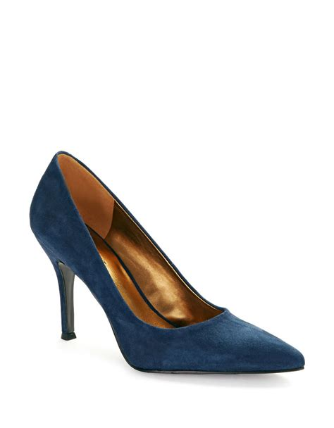Nine Wests Blue Savona Leather by Nine West Flax Leather Pumps In Blue Navy Save 25 Lyst