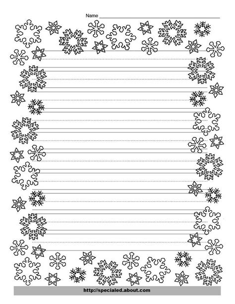 snowflake lined writing paper download paper templates