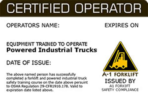 equipment operator certification card template forklift certification forklift onsite