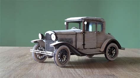 ford model a coupe 1930 in balsa wood glass