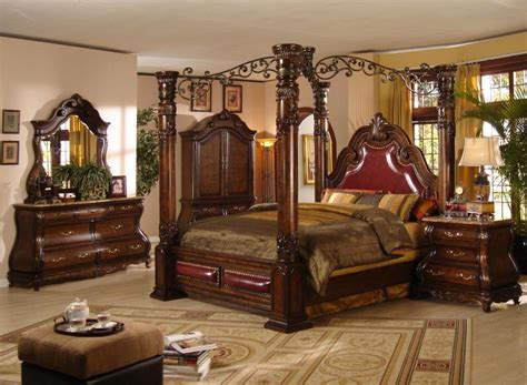 Canopy Bedroom Sets by Aico Villa Valencia 4 Pc King Canopy Bedroom Set