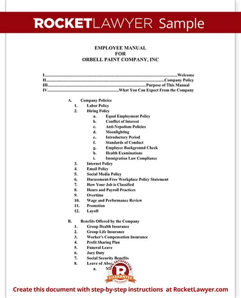 employee manual template document with sle