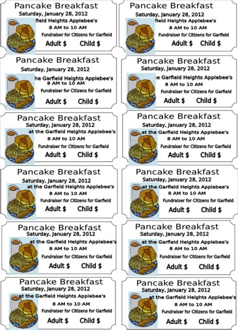 Pancake Breakfast Ticket Template pancake breakfast clip at clker vector clip royalty free domain