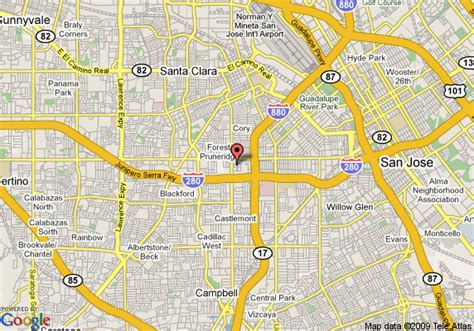 san jose map hotels map of hotel valencia santana row san jose