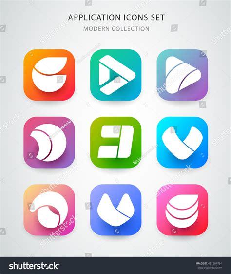 design a logo application big vector icons set application logo stock vector