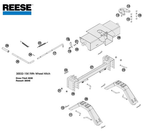 fifth wheel parts diagram reese 5th wheel hitch 30032 15k