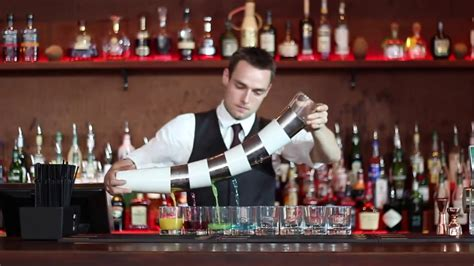 flair bartender shows his set of skills
