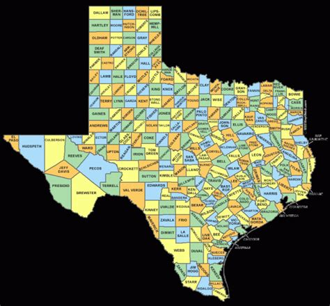 map of texas counties with names texas county map texas mappery