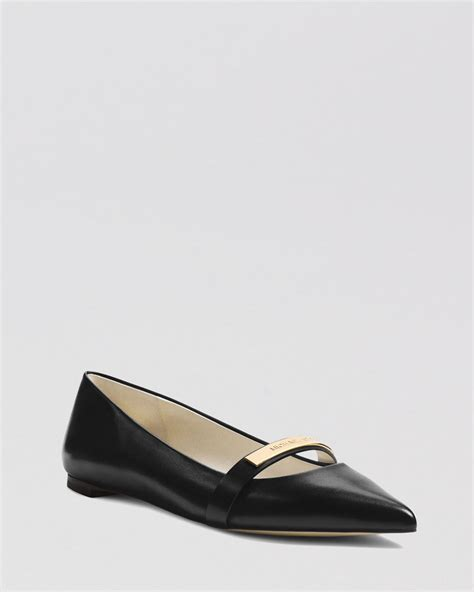 Pointed Ballerina Flats With Metal Shoes lyst michael michael kors pointed toe flats jess in black