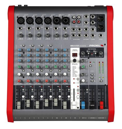 Mixer Audio Proel proel m822usb 8 channel compact mixer with effects audio