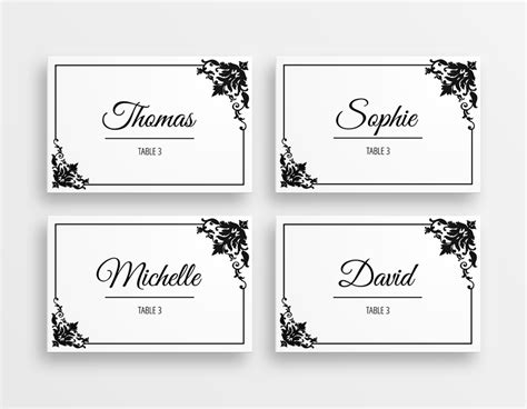printable black white elegant wedding place cards