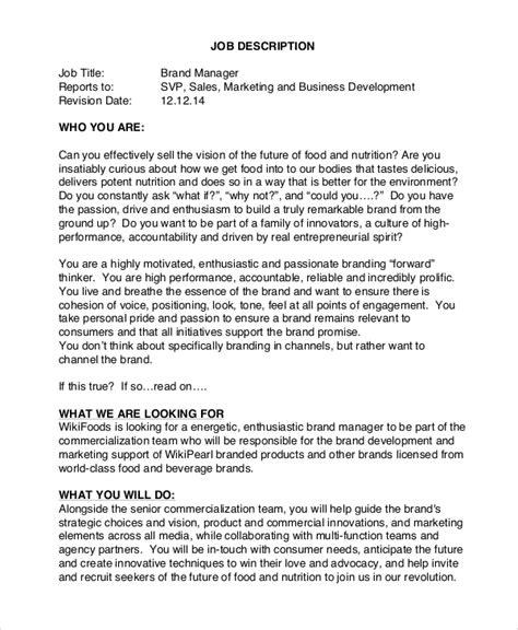 sle brand manager job description 9 exles in pdf