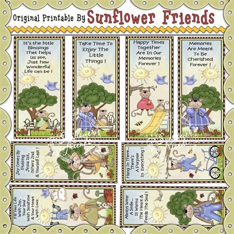 printable sunflower bookmarks 1000 images about printables from sunflower friends on