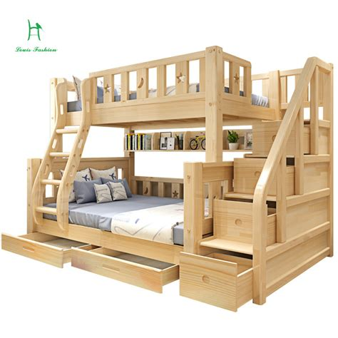 children bunk bed wooden 2 floor ladder ark with slide bed luois fashion wood children bedpine bunk double and two