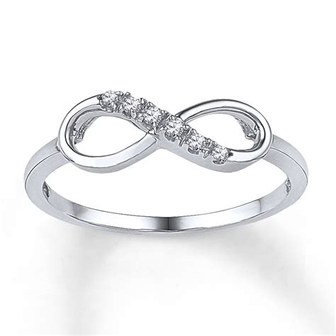 white gold infinity ring infinity ring 1 20 ct tw cut 10k white