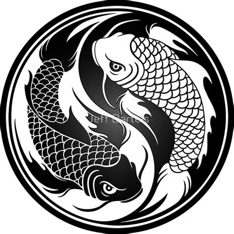black and white koi wallpaper quot black and white yin yang koi fish quot stickers by jeff