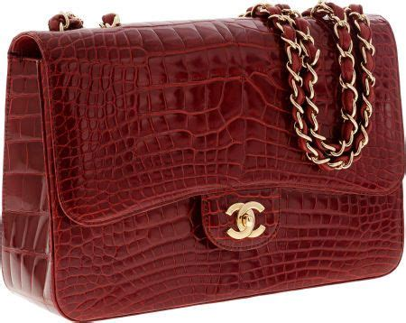 Chanel Semi Shiny Alligator Shopping Bag by Chanel Shiny Crocodile Jumbo Single Flap Bag With Gold