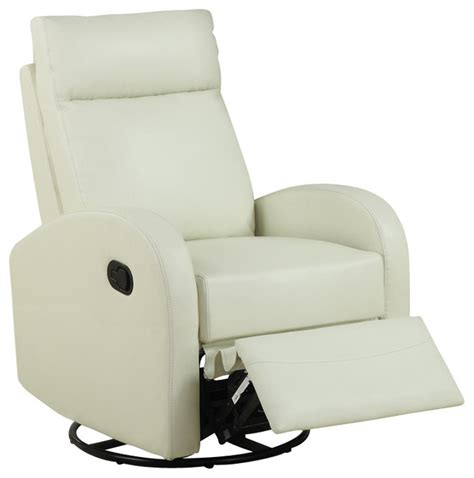 rocker recliner swivel chair monarch specialties swivel rocker recliner chair in ivory
