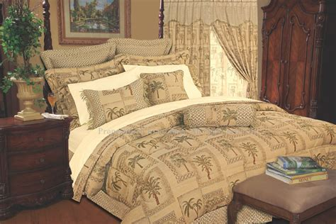 13pc tapestry palm comforter curtain bed in a bag queen