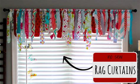 sewing room curtains no sew rag curtains perfect for a craft room or nursery