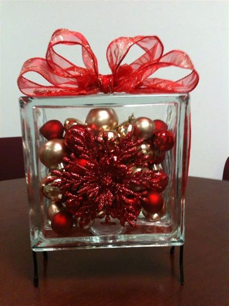 diy snowflake ornaments filled glass block table