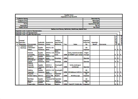 inspection test plan template 13 test plan templates free sle exle format