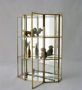 Glass Display Cabinet Retro Vintage Glass And Brass Mirrored Cabinet Wall Curio