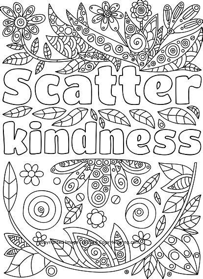 scatter kindness adult coloring page quote coloring