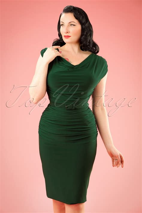 50s billie pencil dress in forest green
