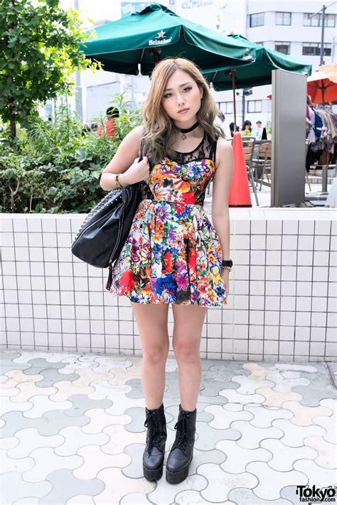 japanese style flower lace dress yru platform boots choker in harajuku