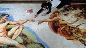 une artiste recr 233 e la fresque de la chapelle sixtine avec
