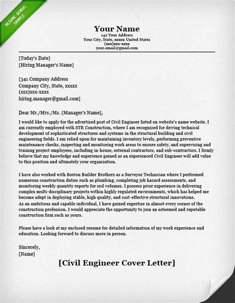 entry level civil engineer cover letter cover